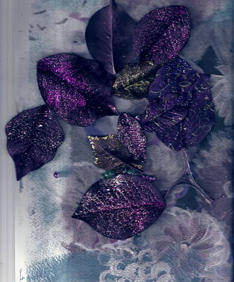 Purple Leaves All Glittery Print by Anne-Elizabeth Whiteway
