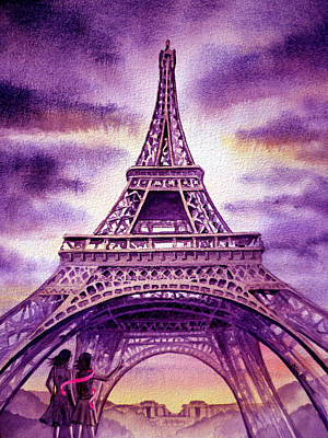 Purple Paris Print by Irina Sztukowski