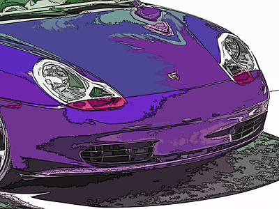 Purple Porsche Nose 2 Print by Samuel Sheats