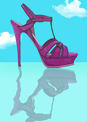 Stilettos Painting - Purple Stilt Stilettos Reflections by Elaine Plesser