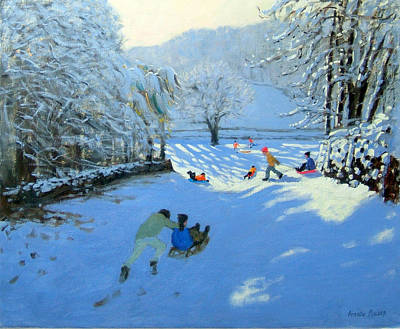Winter Memories Painting - Pushing The Sledge by Andrew Macara