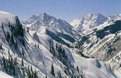 Natural Forces Photograph - Pyramid Peak, 14,018, And Maroon Bells by Gordon Wiltsie
