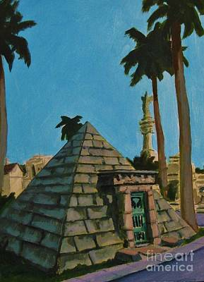 Malone Painting - Pyramid Tomb In Cemetary by John Malone