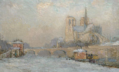 Notre Dame Cathedral Painting - Quai De La Tournelle And Notre-dame De Paris by Albert-Charles Lebourg