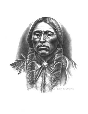 Indian Chief Drawing - Quannah Parker by Lee Updike