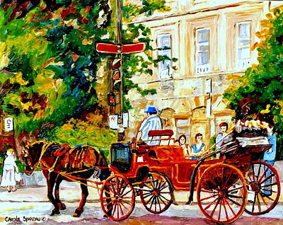 Quebec City Street Scene The Red Caleche Print by Carole Spandau