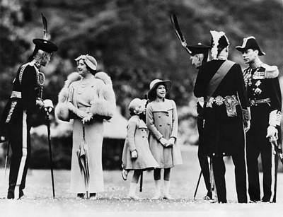 Queen Elizabeth Second From Left Print by Everett