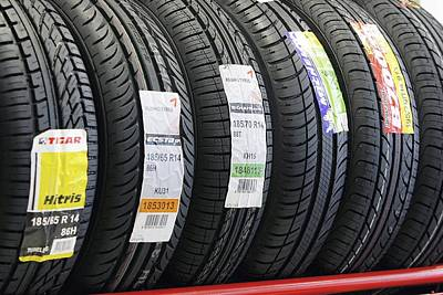 Braking Photograph - Rack Of Car Tyres by Ria Novosti