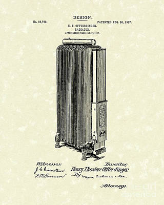 1907 Drawing - Radiator 1907 Patent Art by Prior Art Design