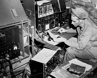 Radio Operator Operates His Scr-188 Print by Stocktrek Images