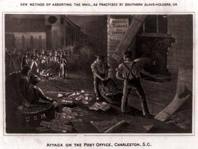 Raid On The Charleston Post Office Print by Everett