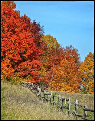 Rail Fence In Fall Print by Peg Runyan