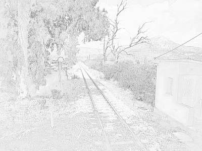 Railroad Crossing In Pencil Sketch Look On The Way From Mycenae To Olympia In Greece Print by John Shiron