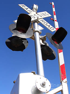 Railroad Crossing Sign And Gate . 7d10645 Print by Wingsdomain Art and Photography