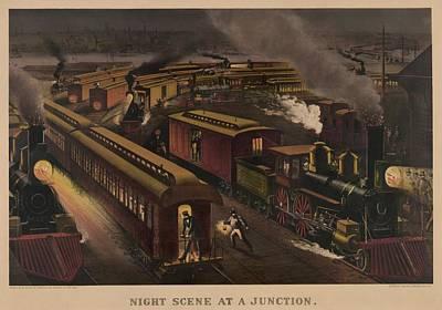 Railroad Junction In 1885. Passenger Print by Everett