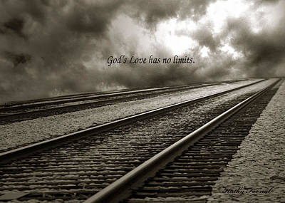 Railroad Tracks Storm Clouds Inspirational Message  Print by Kathy Fornal