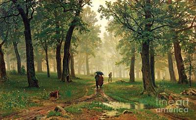 Rain In The Oak Forest Print by Pg Reproductions