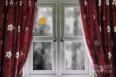 Rain On A Window With Curtains Print by Simon Bratt Photography LRPS