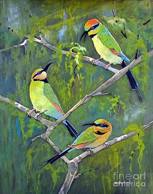 Rainbow Bee-eaters Print by Audrey Russill