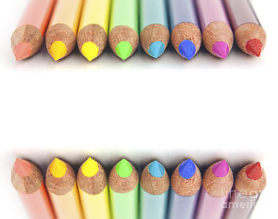 Kindergarten Photograph - Rainbow Colored Pencils by Blink Images
