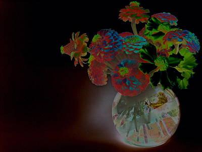 Luminous Globe Photograph - Rainbow Flowers In Glass Globe by Padre Art