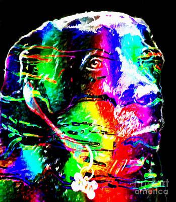 Retriever Digital Art - Rainbow Lab by Barbara Griffin