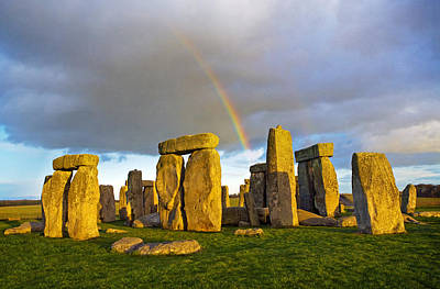 Megalith Photograph - Rainbow Over Stonehenge by Scott E Barbour
