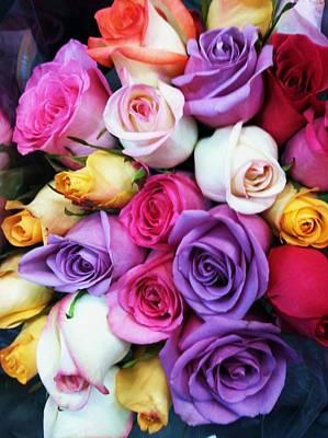 Rainbow Rose Bouquet Print by Anna Villarreal Garbis