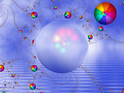 Rainbow Sphere On Blue Lake Print by Pam Blackstone