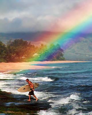 Rainbow Surfer Print by Joel Lau