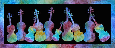Violin Painting - Rainbow Washed Violins by Jenny Armitage