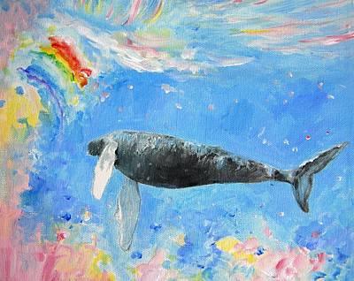 Rainbow Whale Original by Tamara Tavernier