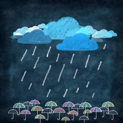 Rainy Day With Umbrella Print by Setsiri Silapasuwanchai