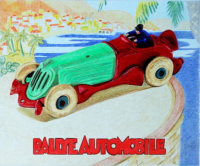 Cast Iron Drawing - Rallye Automobile by Glenda Zuckerman