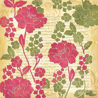 Raspberry Sorbet Floral 1 Print by Debbie DeWitt
