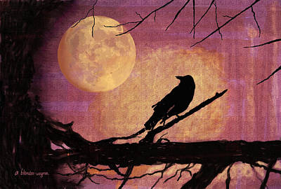 Crows Digital Art - Raven And The October Moon by Arline Wagner