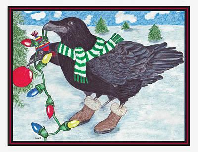 Ravens Holiday Print by Marla Saville
