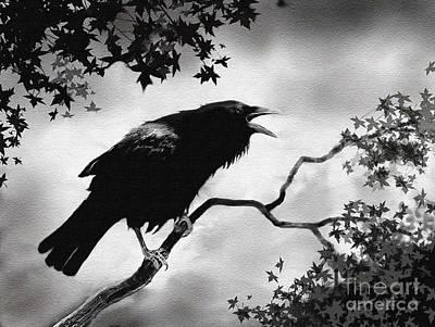 Corvid Digital Art - Raven's Song by Robert Foster