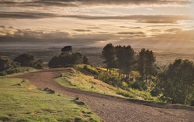 Rays Of Sunlight Over Clent Countryside Print by Verity E. Milligan