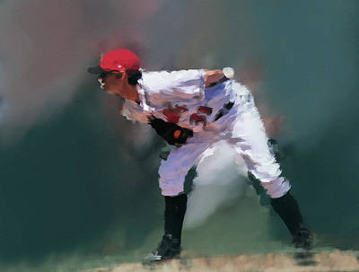 Minor League Painting - Reading The Pitch by Dennis Wright aka The Mellow One