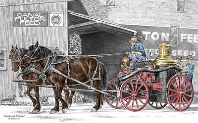 Draft Horses Drawing - Ready And Waiting - Canal Fulton Ohio Fire Engine Print by Kelli Swan