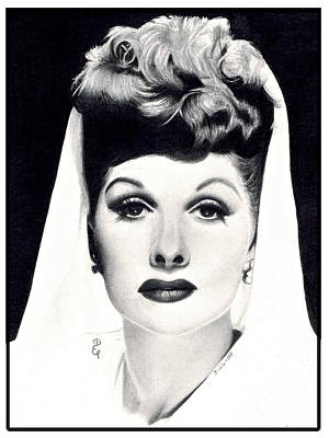 Lucille Drawing - Realistic Pencil Drawing Of Lucille Ball by Debbie Engel