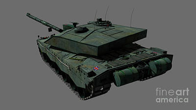 Rear View Of A British Challenger II Print by Rhys Taylor