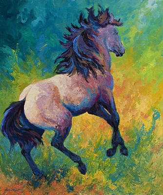Buckskin Horse Painting - Rearing To Go by Marion Rose