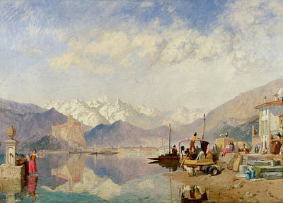 Italian Landscapes Painting - Recollections Of The Lago Maggiore Market Day At Pallanza by James Baker Pyne
