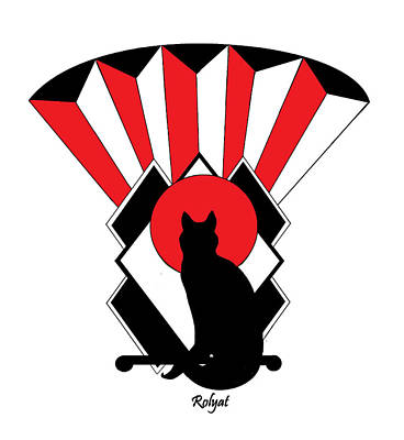 Red Art Deco Cat 2 Print by Rolyat Art