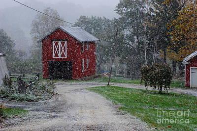 Lake Waramaug Photograph - Red Barn In Autumn Snow by Andrea Simon