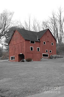 Red Barn In Black And White Print by Randy Edwards