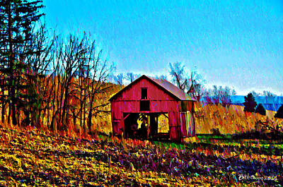 Red Barn On A Hillside Print by Bill Cannon