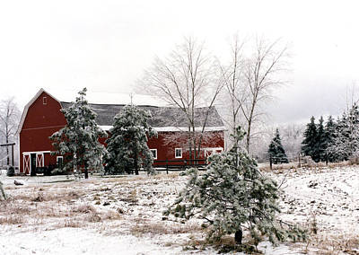 Surreal Barns Photograph - Michigan Red Barn Winter Scene Snow Landscape by Kathy Fornal